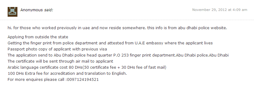 How to Apply for a Police Clearance in Abu Dhabi 2012 (5/5)
