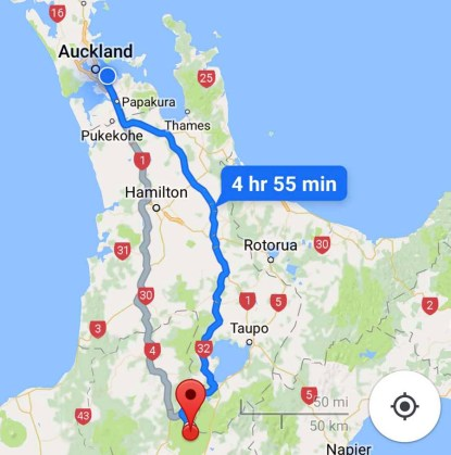 map auckland to mount ruapehu