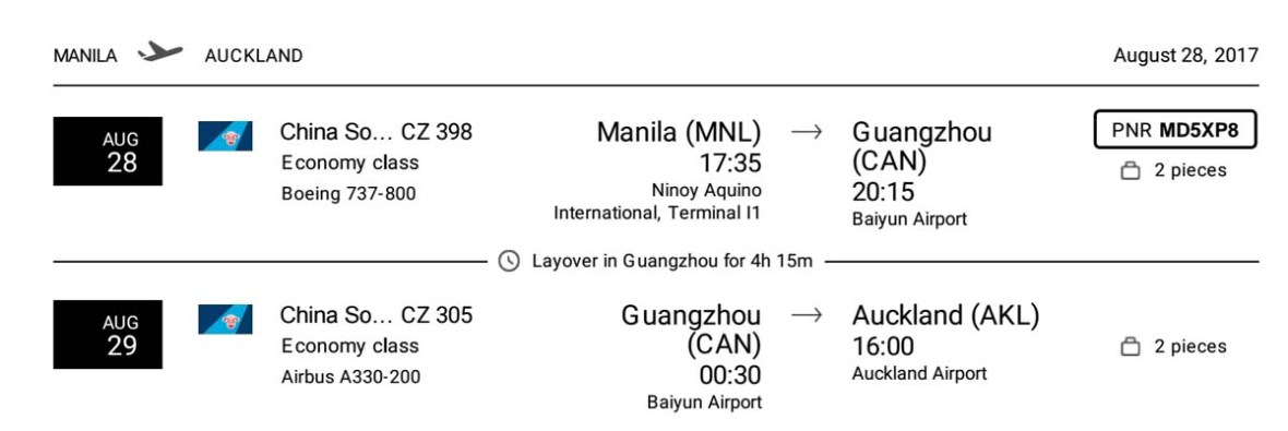 Manila flights to New Zealand