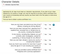new zealand visitor visa character questions