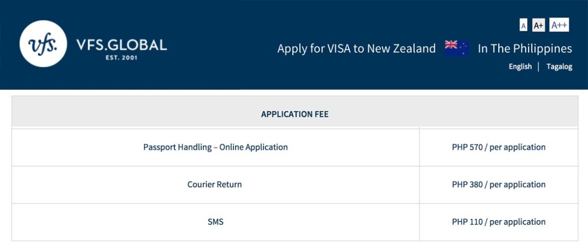 vfs new zealand visa fee