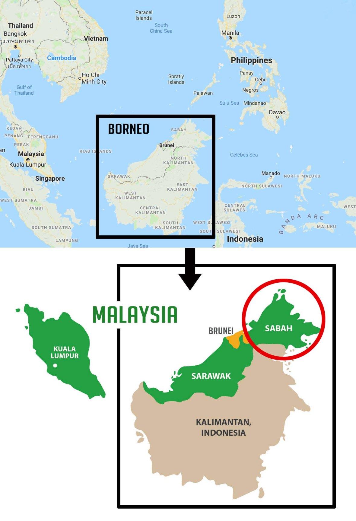 map sabah borneo malaysia