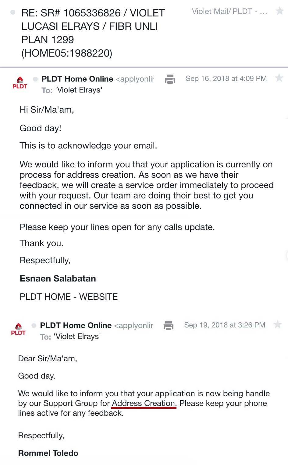 pldt service complaint