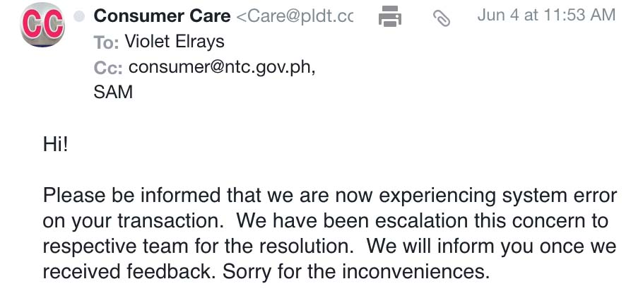 Dear PLDT – Request for Investigation for Unacceptable