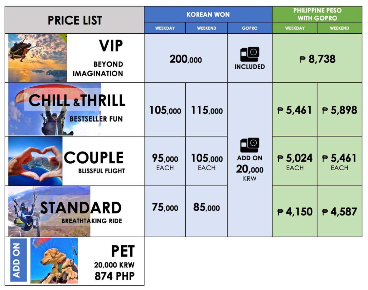 danyang awesome paragliding price list